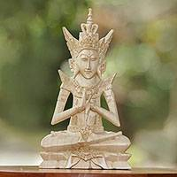 Wood statuette, 'Indra' - Hand Carved Hindu God Indra Wood Statuette from Bali