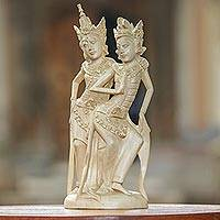 Wood sculpture, 'Royal Couple Rama and Sita' - Balinese Crocodile Wood Sculpture of Rama and Sita