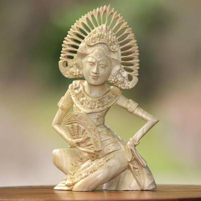 Wood sculpture, 'Jangi Janger' - Balinese Folk Dancer Portrait Sculpted in Crocodile Wood