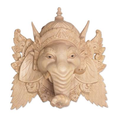 Wood mask, 'Pale Ganesha' - Hand Carved Balinese Crocodile Wood Ganesha Mask