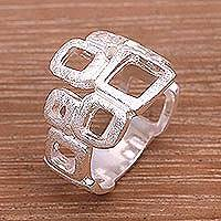 Sterling silver band ring, 'Elegant Blocks' - 925 Sterling Silver Abstract Block Ring in a Brushed Finish