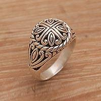 Sterling silver domed ring, 'Bali Paddy' - Sterling Silver Combination Finish Domed Ring from Bali