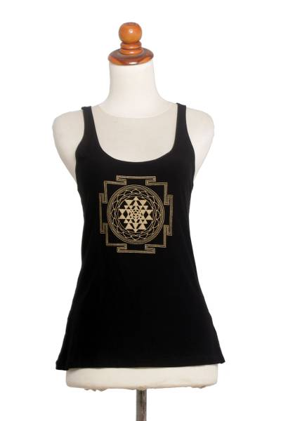 Rayon blend tank top, 'Soul Chakra in Black' - Black Rayon Blend Beige Medallion Sleeveless Tank Top