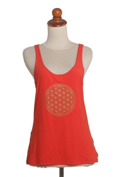 Rayon blend tank top, 'Soul Cycle in Scarlet' - Scarlet Rayon Blend Beige Medallion Sleeveless Tank Top
