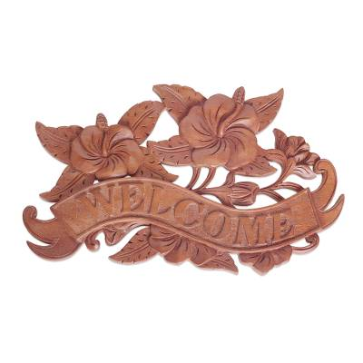 Wood wall sign, 'Hibiscus Welcome' - Hand Carved Suar Wood Welcome Sign from Bali