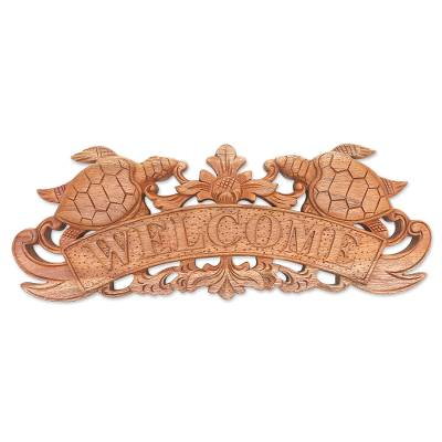 Wood wall sign, 'Turtle Welcome' - Hand Carved Turtle Wood Welcome Sign from Bali