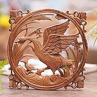 Wood relief panel, 'Mother Goose' - Handmade Wood Wall Relief Panel with Goose Motif from Bali