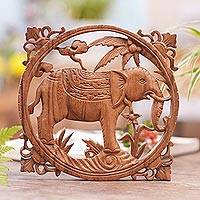 Wood relief panel, 'Noble Elephant' - Handmade Elephant Wood Wall Relief Panel from Bali