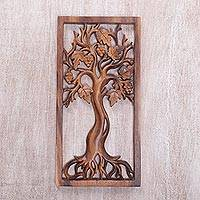 Wood relief panel, 'Singapore Cherry' - Handmade Tree Wood Wall Relief Panel from Bali