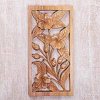 Wood relief panel, 'Hibiscus Bloom' - Hand Carved Hibiscus Flower Wood Wall Relief Panel from Bali