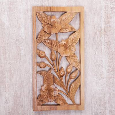 Hand carved hibiscus flower wood wall relief panel from bali