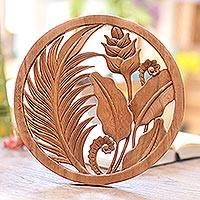 Wood relief panel, 'Heliconia' - Hand Carved Round Wood Wall Relief with Heliconia Flower
