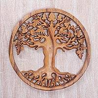 Wood relief panel, 'Roots of Life' - Balinese Hand Carved Wood Wall Relief Panel with Tree Motif