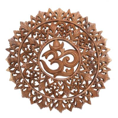 Om Symbol Carved Wood Wall Relief Panel From Bali Florid Om Novica