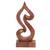 Wood sculpture, 'Shy Heart' - Handmade Suar Wood Abstract Heart Tabletop Sculpture (image 2a) thumbail