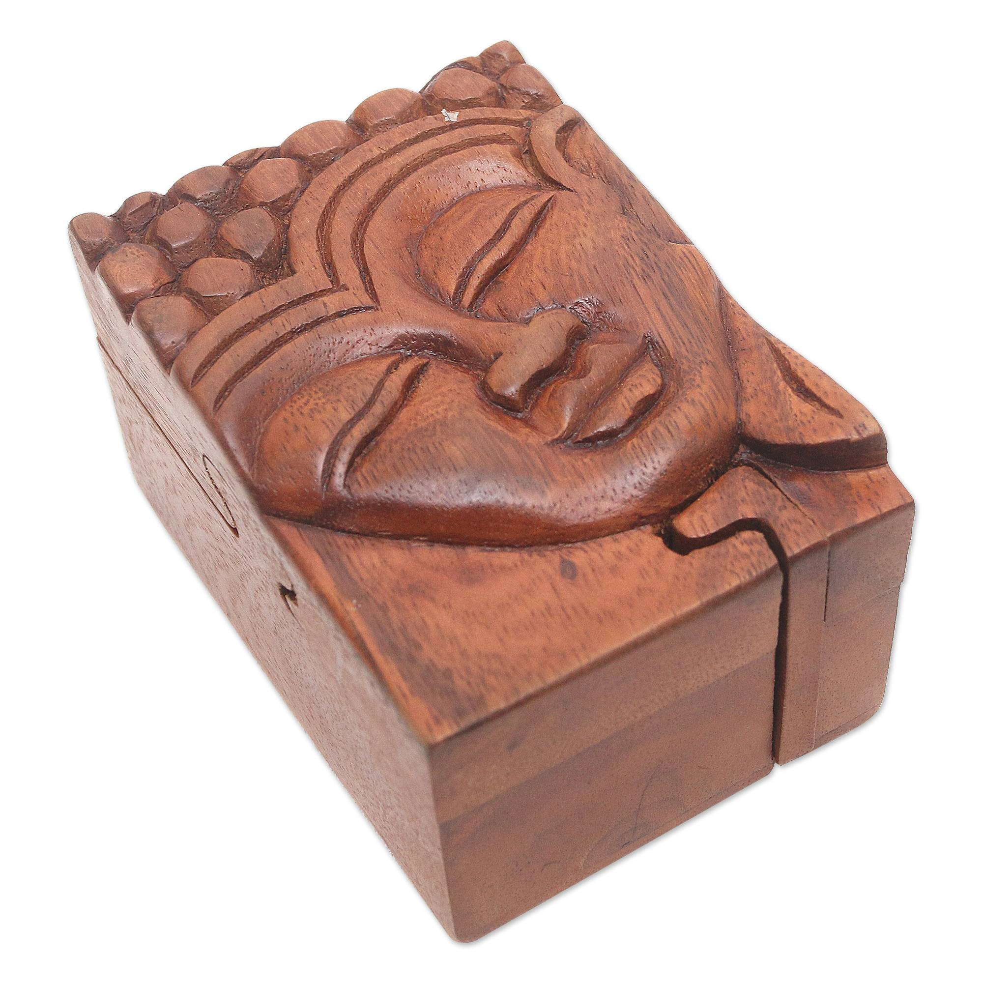 Unicef market hand carved buddha motif puzzle box from