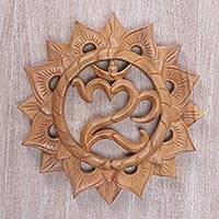 Wood relief panel, 'Sunnyside Om' - Hand Carved Suar Wood Wall Hanging Sanskrit Om