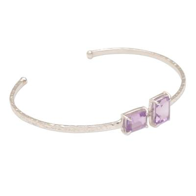 Hammered Sterling Silver Cuff Bracelet with Amethysts