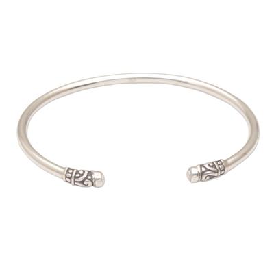Feminine Cultured Pearl and Sterling Silver Cuff Bracelet