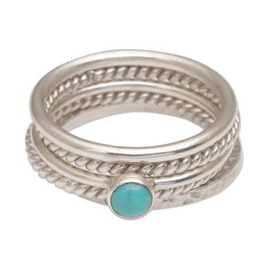 Handmade 925 Sterling Silver Turquoise Stacking Ring