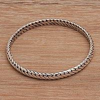 Sterling silver bangle bracelet, 'Chain Reign' - Chain Look Sterling Silver Bangle Bracelet from Bali