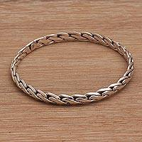 Sterling silver bangle bracelet, 'Chain Link' - Sterling Silver Bangle Bracelet with Chain-Like Look