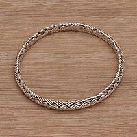 Sterling silver bangle bracelet, 'Woven Wreath'