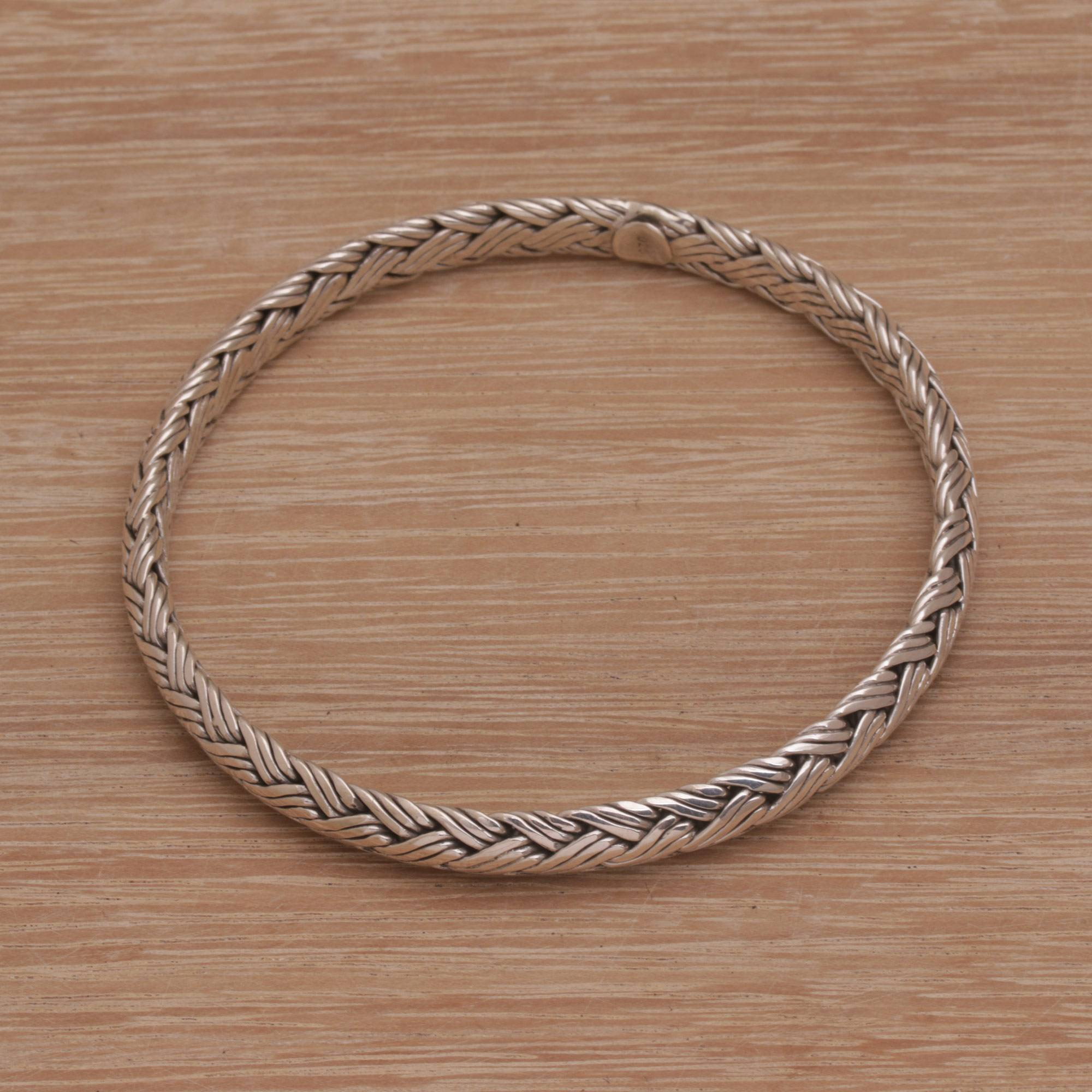 Handmade 925 Sterling Silver Bangle Bracelet Indonesia Woven Wreath