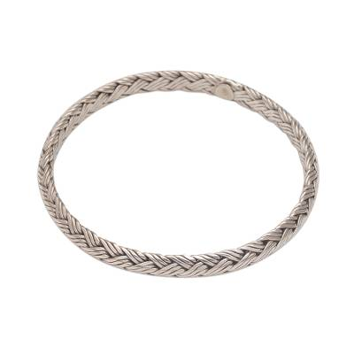 Sterling silver bangle bracelet, 'Woven Wreath' - Handmade 925 Sterling Silver Bangle Bracelet Indonesia