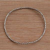 Sterling silver bangle bracelet, 'Rejuvenation' - Artisan Handmade Sterling Silver Bangle Bracelet