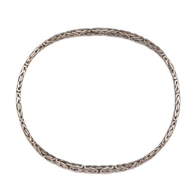 Sterling silver bangle bracelet, 'Rejuvenation' - Artisan Handmade Sterling Silver Bangle Bracelet