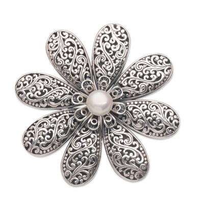 Cultured pearl brooch, 'Starlight Flower' - Handmade 925 Sterling Silver Cultured Pearl Floral Brooch