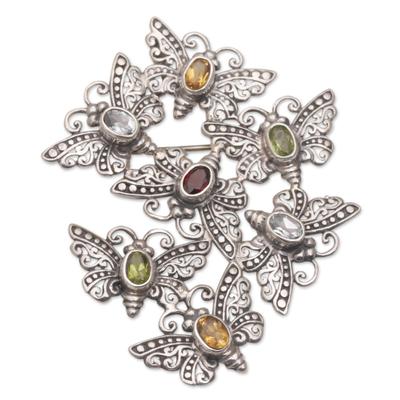 Multi-gemstone brooch pin, 'Butterfly Swarm' - Handmade Cast 925 Sterling Silver Butterfly Brooch Pin