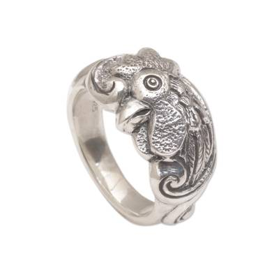 Sterling silver band ring, 'Ayam Jago' - Sterling Silver Rooster Ring from Indonesia