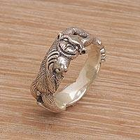 Sterling silver band ring, 'Ape Pose' - Sterling Silver Monkey Band Ring from Indonesia