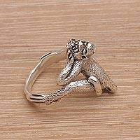 Sterling silver cocktail ring, 'Laughing Ape' - Laughing Ape Ring Handmade from Sterling Silver