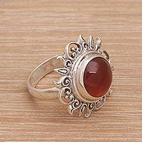 Carnelian cocktail ring, 'Light Of The Universe' - Sun Themed Carnelian and Sterling Silver Cocktail Ring