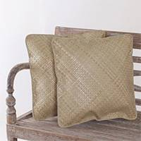 Pandan leaf cushion covers, 'Java Legacy' (pair) - Hand Woven Natural Pandan Leaf Cushion Covers (Pair)