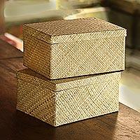 Pandan leaf decorative boxes, 'Artisanal Passion' (pair) - Collapsible Pandan Leaf Decorative Boxes from Java (Pair)