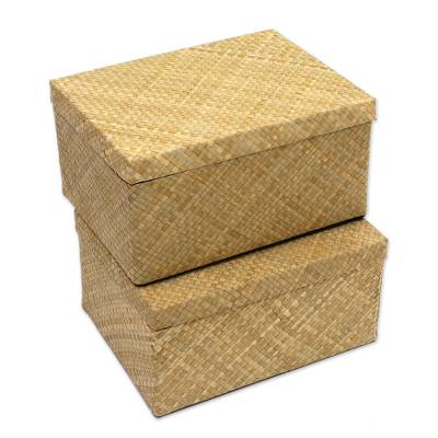 Collapsible Pandan Leaf Decorative Boxes From Java Pair Artisanal Passion