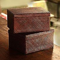 Pandan leaf decorative boxes, 'Artisanal Passion in Brown' (pair) - Dark Brown Pandan Leaf Collabsible Decorative Boxes (Pair)