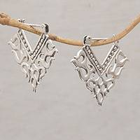 Sterling silver hoop earrings, 'Tribal Fire' - Tribal Style Sterling Silver Hoop Earrings from Bali