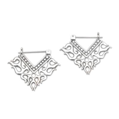 Sterling silver hoop earrings, 'Tribal Fire' - Tribal Style Sterling Silver Hoop Earrings from Bali