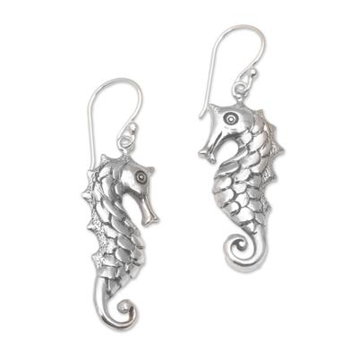 Sterling silver dangle earrings, 'Friendly Seahorse' - Seahorse Motif Dangle Earrings in Sterling Silver