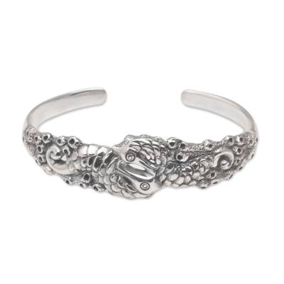 Sterling silver cuff bracelet, 'Seahorse Family' - Indonesia 925 Sterling Silver Seahorse Cuff Bracelet