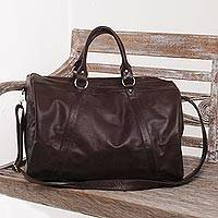Leather shoulder bag, 'Minggat in Brown' - Hand Crafted Large Leather Shoulder Bag from Bali