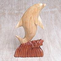 Wood sculpture, 'Dolphin Hop' - Hand Carved Suar Wood Dolphin Sculpture from Bali