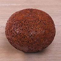Coconut shell sculpture, 'Bhoma Legacy' - Hand Carved Balinese Coconut Shell Hindu Sculpture
