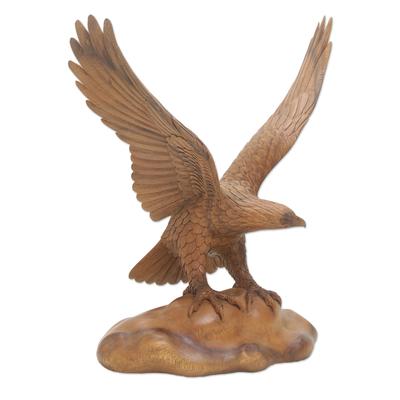 Realistic Suar Wood Bird Sculpture of an Eagle Landing