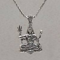 Sterling silver pendant necklace, 'Shiva Semedi' - Lord Shiva Pendant Necklace Crafted from Sterling Silver
